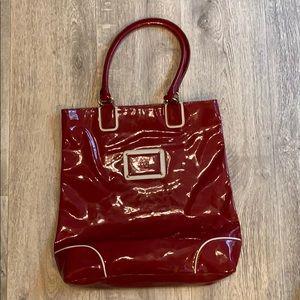 Estee Lauder red patent leather tote